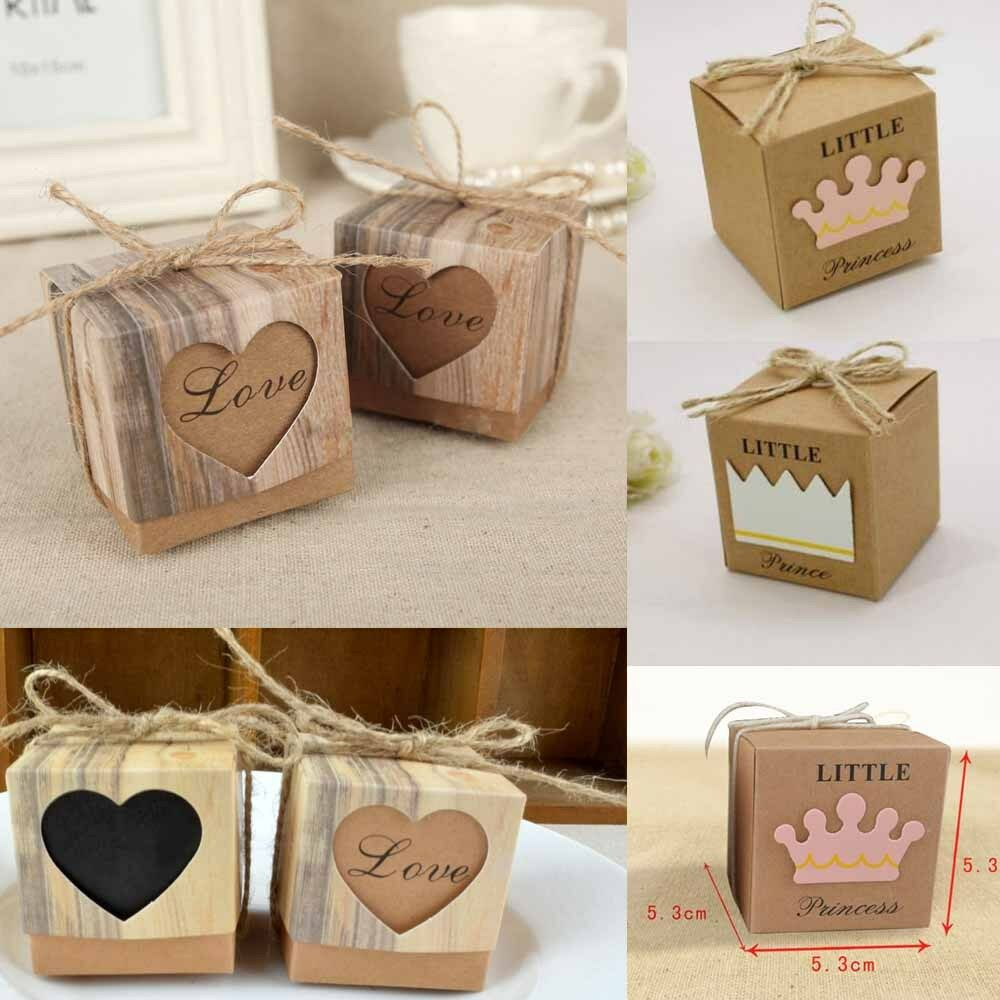 50pcs Wedding Favour Sweet Cake Candy Boxes Paper Bags Party Decoration Gift NEW