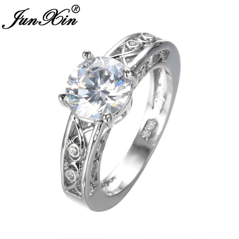 junxin 8mm round cut white sapphire wedding ring white gold for women size 6 11 - White Sapphire Wedding Rings