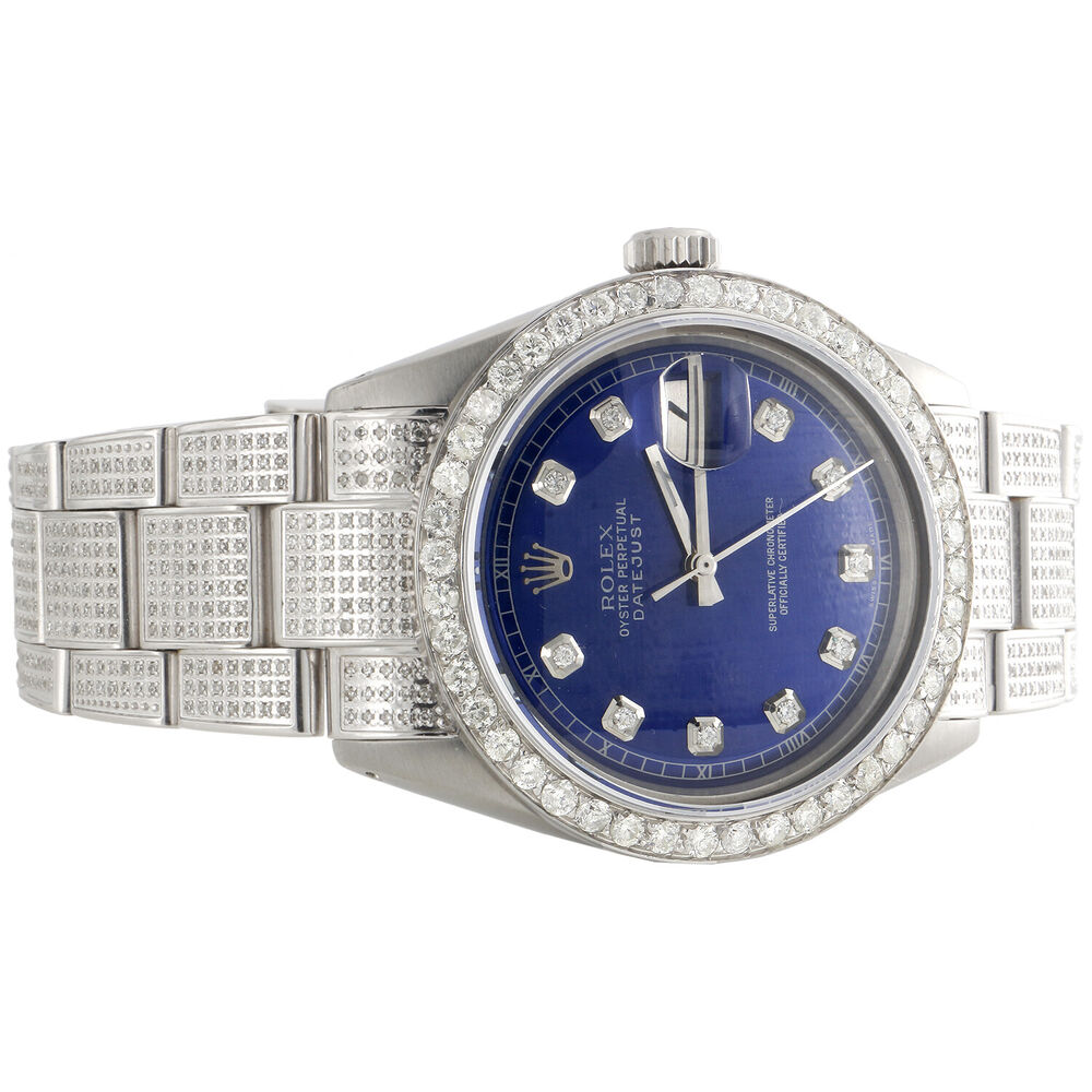 Mens Rolex 36mm DateJust Diamond Watch Fully Iced Band ...