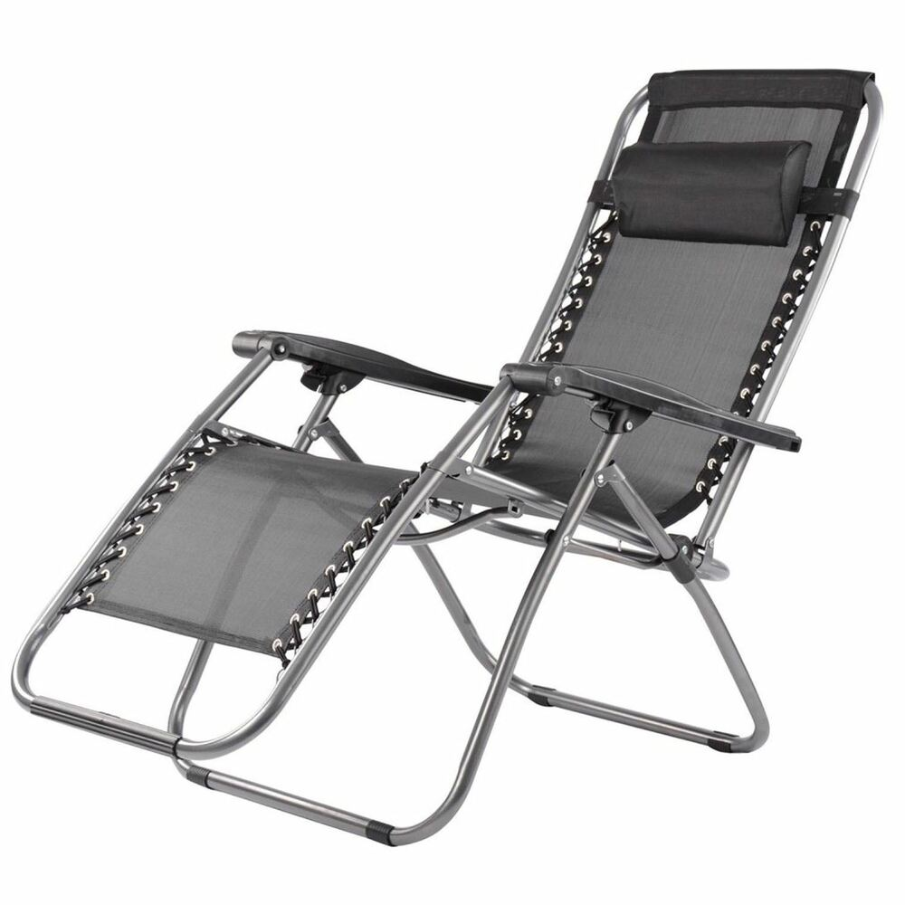 Folding Zero Gravity Sun Lounger Chair Recliner Garden Sun