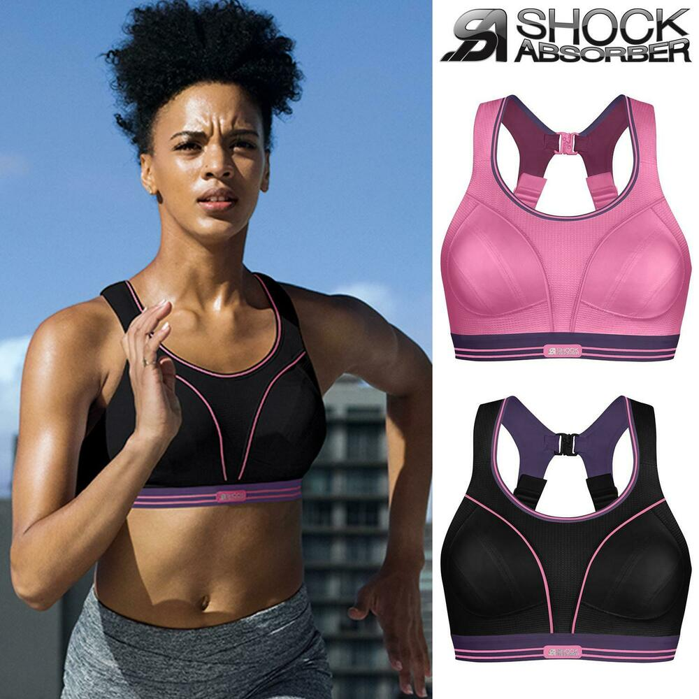 6f9306ae00 Details about Shock Absorber Ultimate Run Sports Bra Pink Purple Black  Purple 32-38 A-G Womens