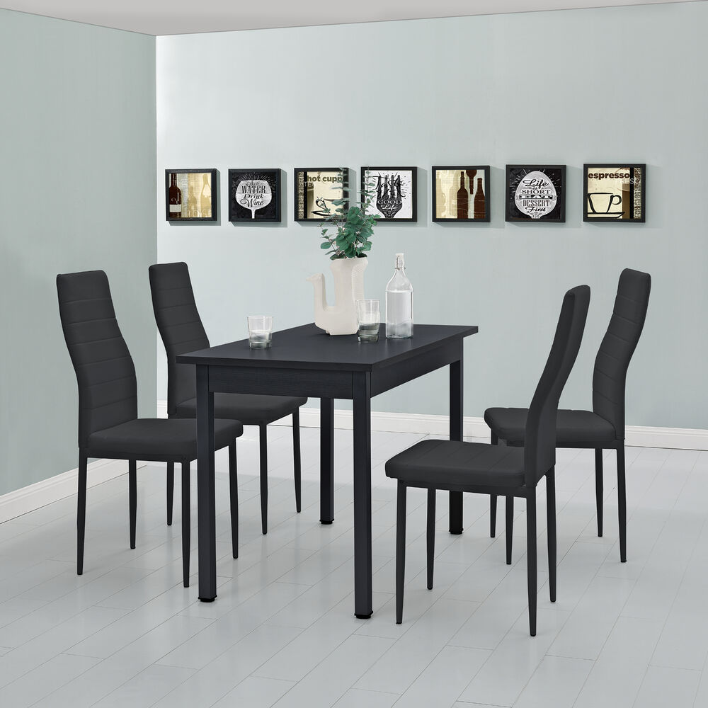 esstisch mit 4 st hlen schwarz 120x60cm k chentisch esszimmertisch ebay. Black Bedroom Furniture Sets. Home Design Ideas