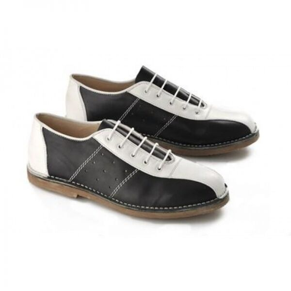 competitive price 3f9e5 f7934 Details about Ikon MARRIOTT Mens Lace Up Leather Classic MOD Bowling Shoes  Black   White