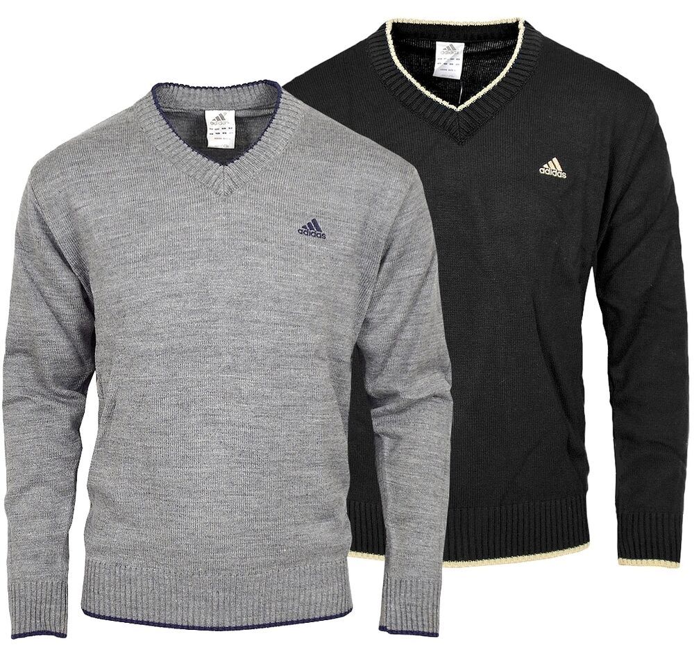 adidas herren crew strick pullover klassisch jumper v shirt sweater grau meliert ebay. Black Bedroom Furniture Sets. Home Design Ideas