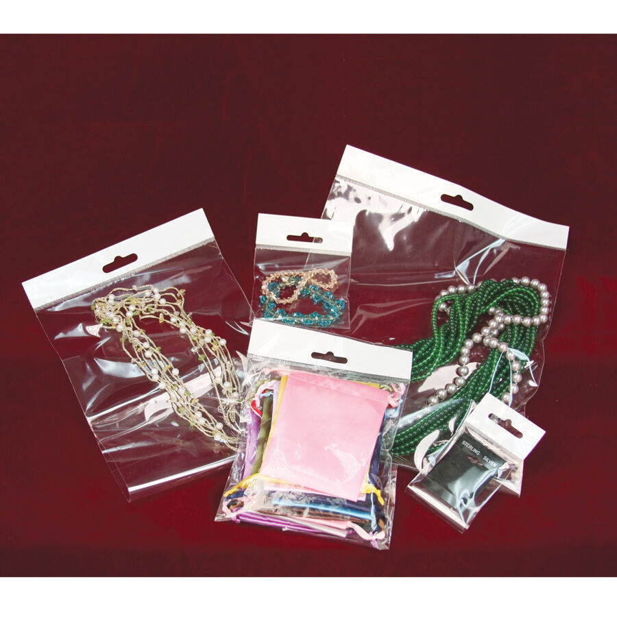 100~500~1000 JEWELRY OPP BAGS w/HANGING HEADER CLEAR BAGS