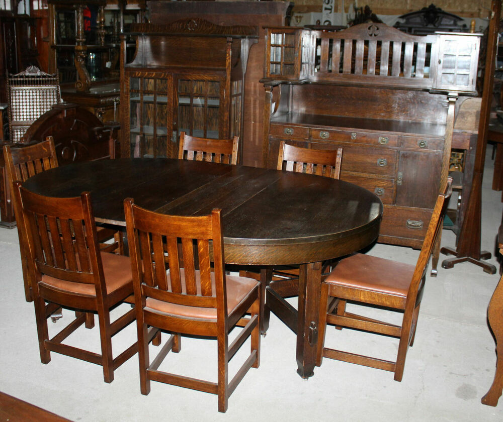 Antique Limbert Dining Room Set Sideboard China Table 6 Chairs