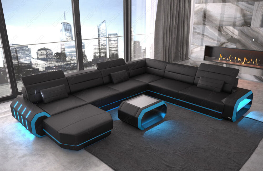 Sectional Genuine Leather Sofa Couch Xxl Brooklyn With Ottoman Led