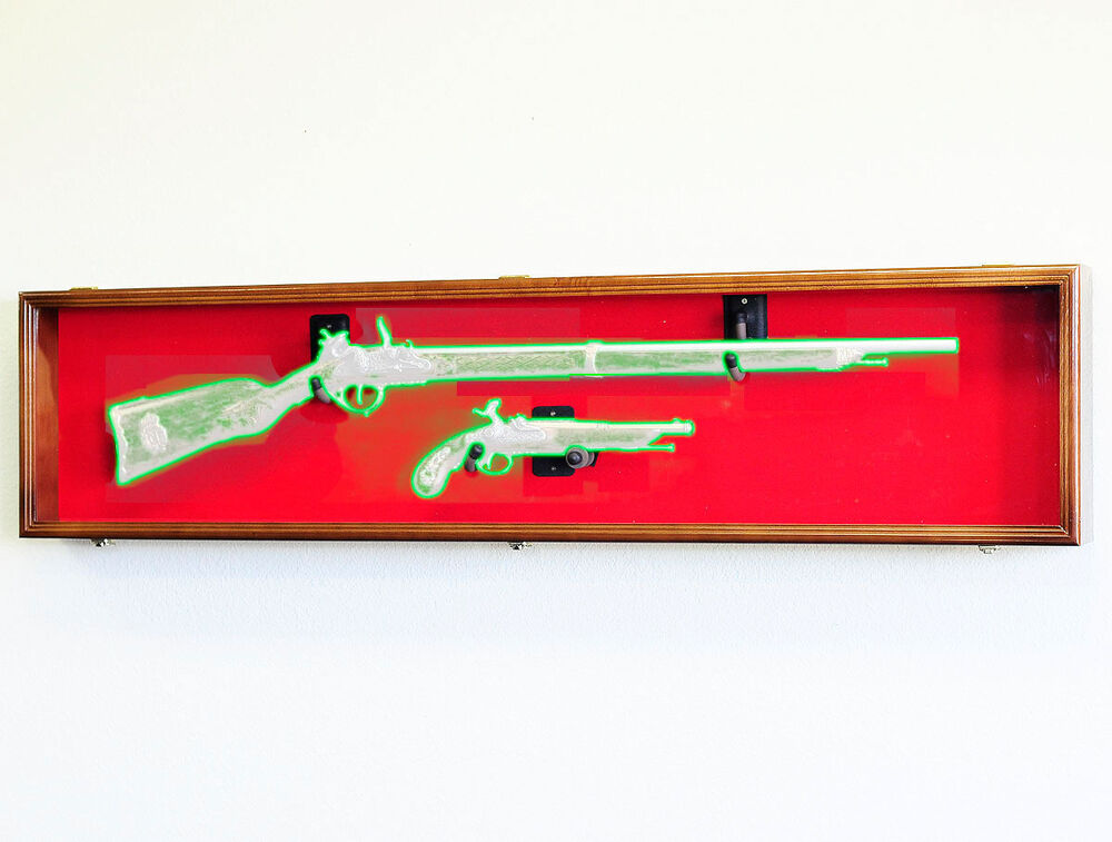 Long Rifle Musket Gun Shotgun Pistol Cabinet Display Case