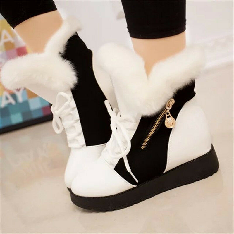 Women Ladies Winter Warm Snow Boots Soft Fur Lined Leather ...