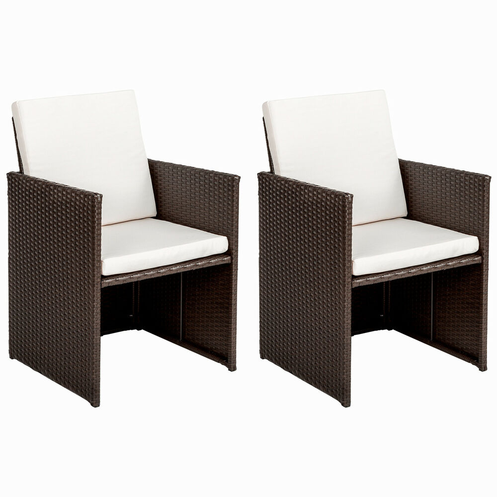 2er set polyrattan st hle gartenstuhl sessel rattanstuhl. Black Bedroom Furniture Sets. Home Design Ideas