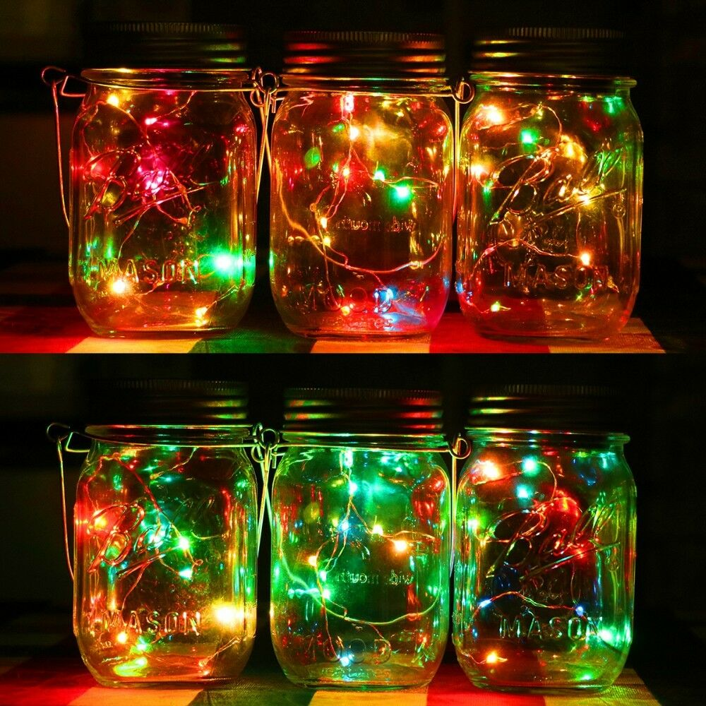 Mason Jar Solar Lid Light Up String Hanging Lantern 10 Led