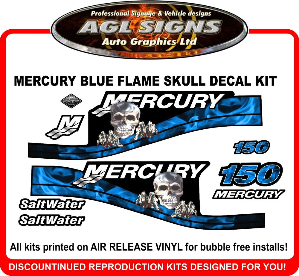 Mercury 150 Saltwater Blue Skull Flame Outboard Decals 125