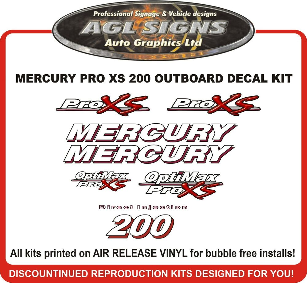 Mercury optimax pro xs 200 hp decal kit reproductions 115 150 175 225 ebay