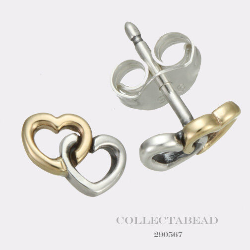 Pandora Silver Stud Earrings: Authentic Pandora Silver & 14K Gold Heart To Heart Stud