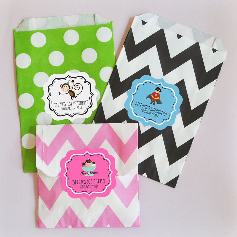 Details About 36 Personalized Mod Kids Birthday Party Goodie Bags Favor