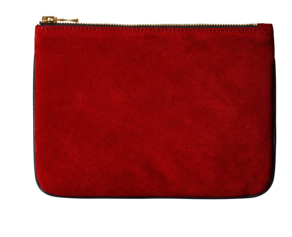 5b568d57e2f Details about Balmain x H&M Red Suede & Black Leather Pouch Clutch Bag Gold  Hardware