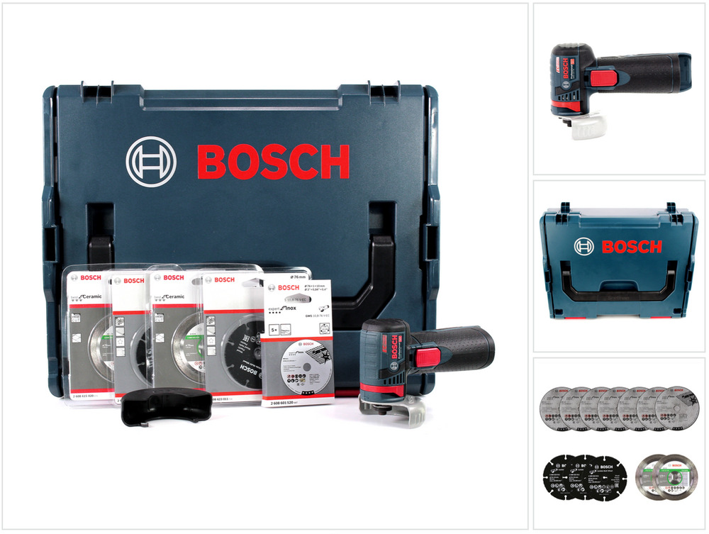 bosch gws 12v 76 v ec akku winkelschleifer in l boxx trennscheiben set ebay. Black Bedroom Furniture Sets. Home Design Ideas