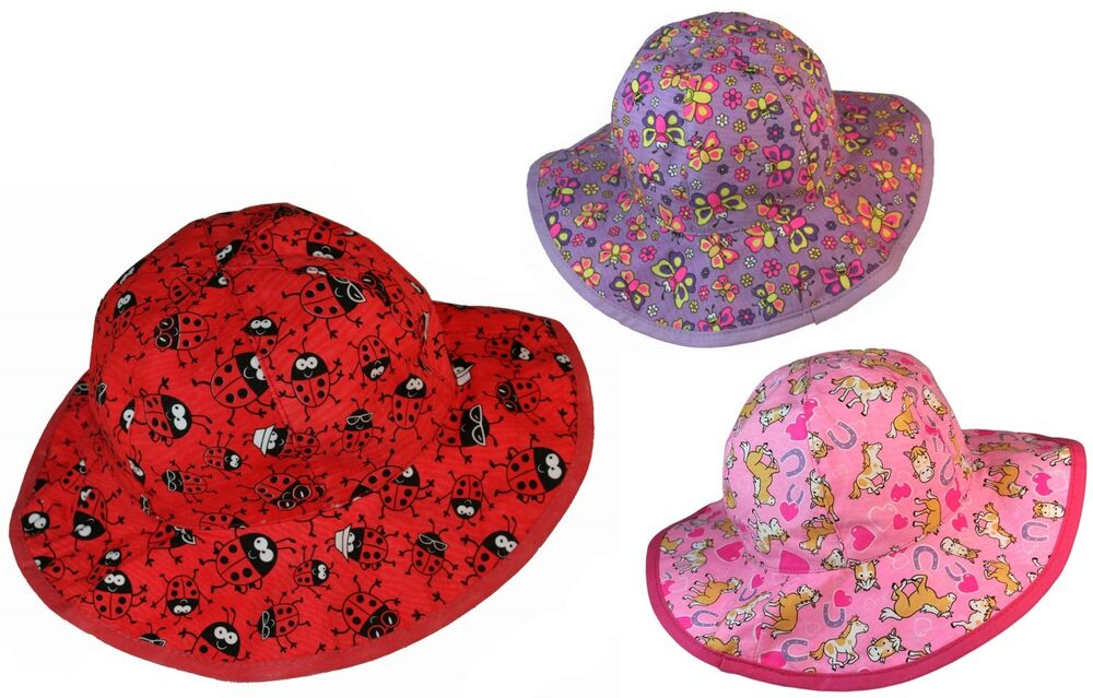 Promo Bugzz Kids Girls Colourful Sun Hat Childrens   Childs Beach Bucket  Hats  c7e00f3d861