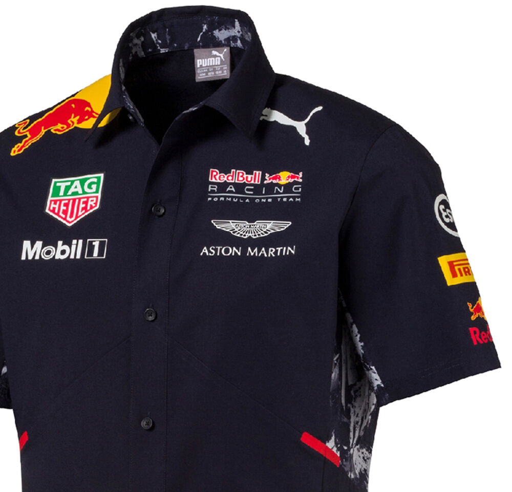 authentic puma red bull racing 2017 collection men button team shirt 762164 01 ebay. Black Bedroom Furniture Sets. Home Design Ideas
