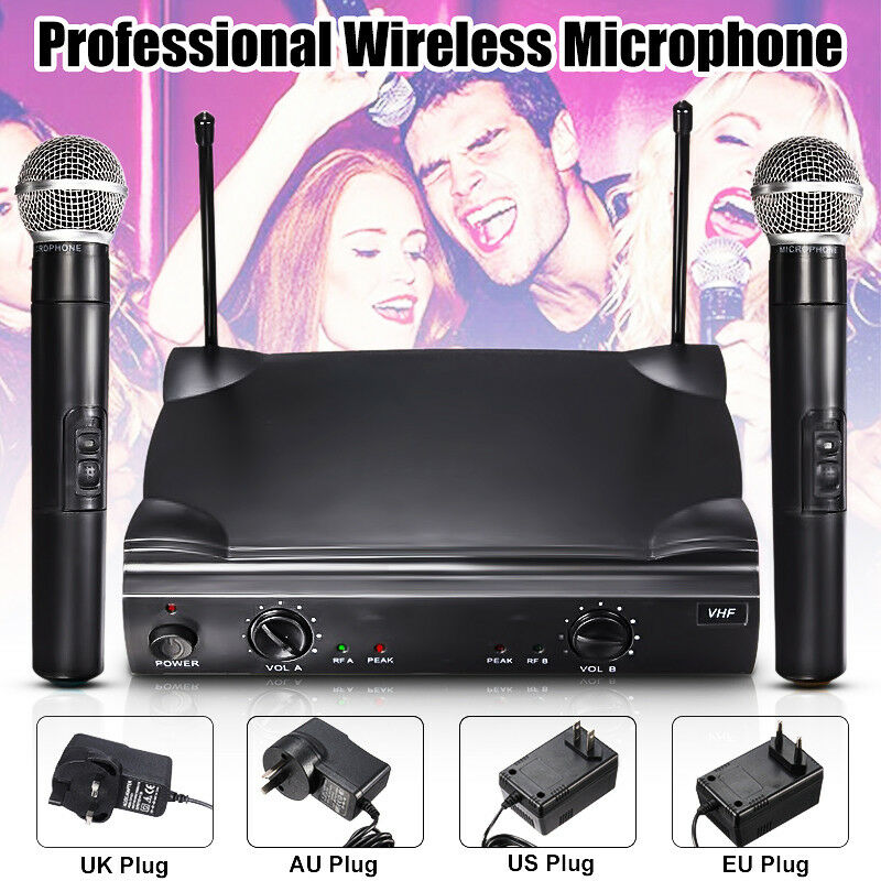 pro dual vhf handheld wireless microphone mic system kareoke cordless set w box ebay. Black Bedroom Furniture Sets. Home Design Ideas