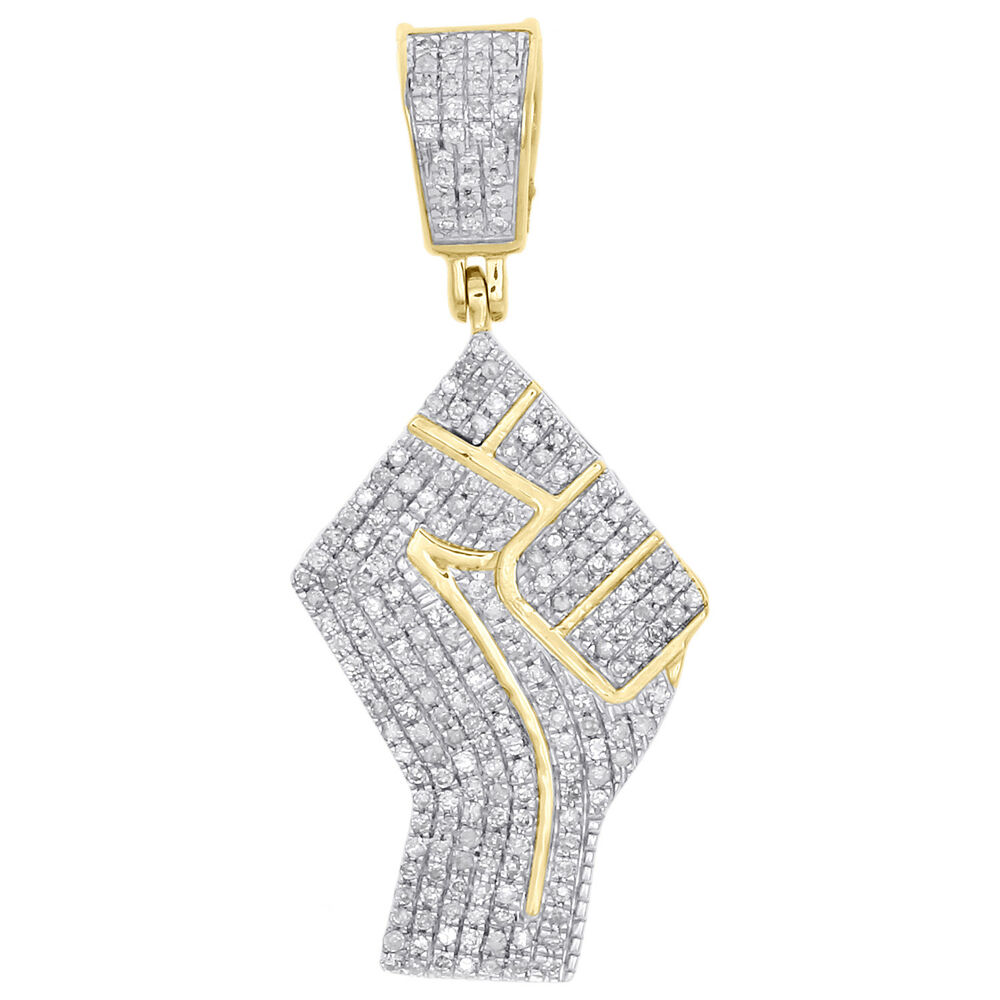 Details about 10K Yellow Gold Real Diamond Raised Fist Symbol Pendant 1.40