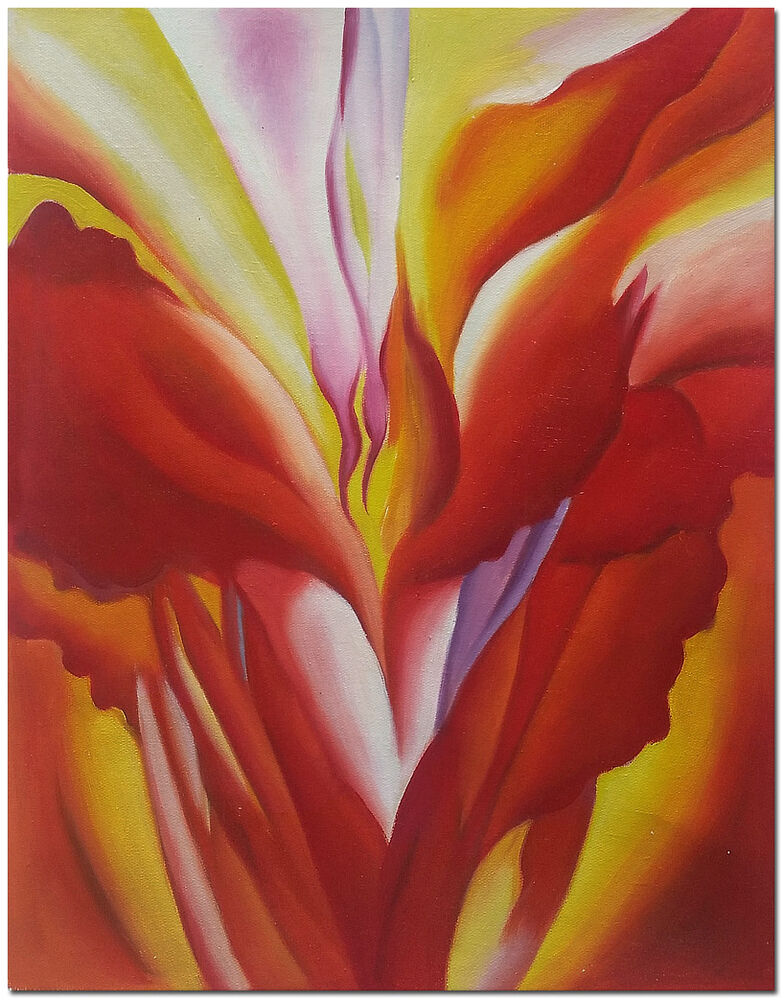 red canna hand painted modern georgia o keeffe oil painting wall art ebay