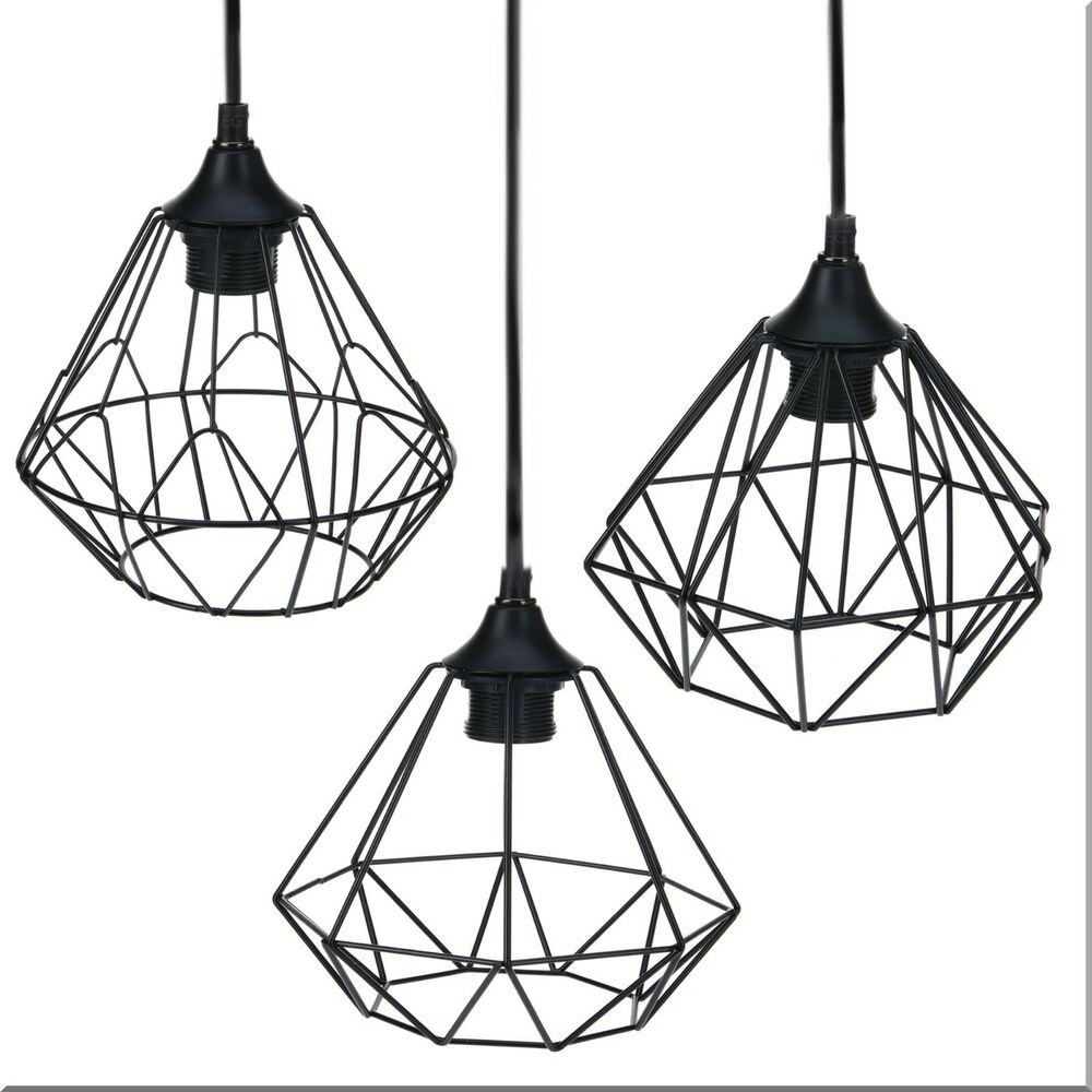 modern black geometric metal wire hanging ceiling light