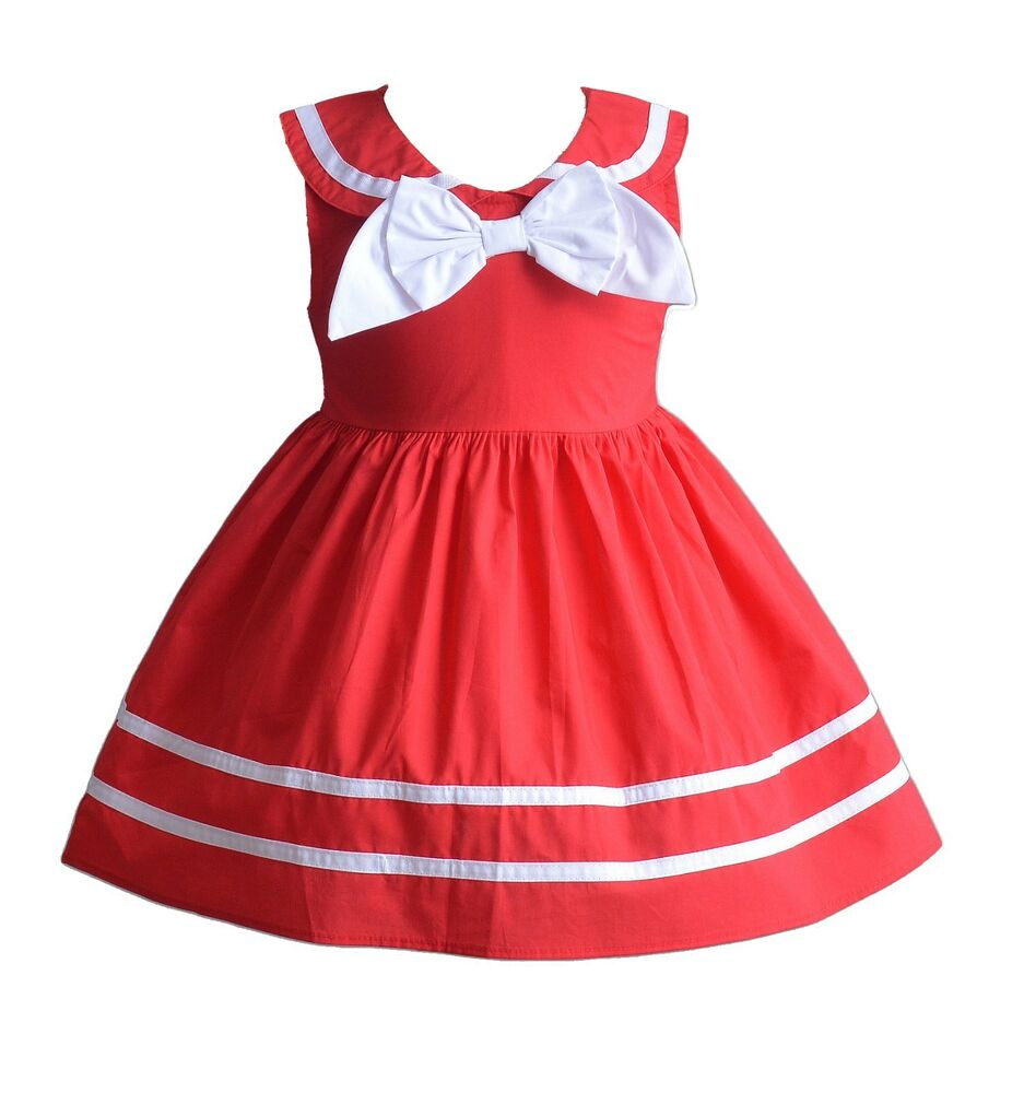 New Baby Girls Bow Summer Party dress in Red White Blue 3 6 9 12 18 Months