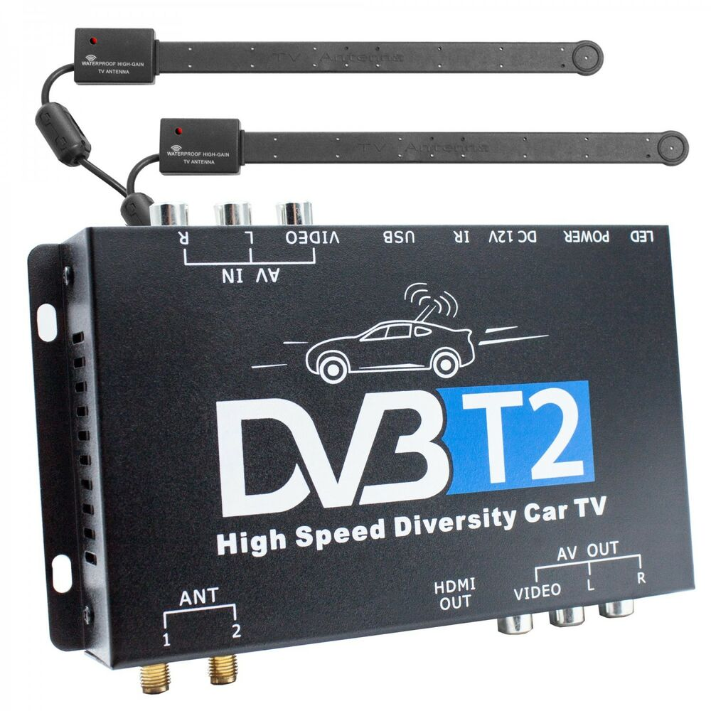 dvb t2 hevc receiver 2x antenne auto kfz 12v 24v. Black Bedroom Furniture Sets. Home Design Ideas