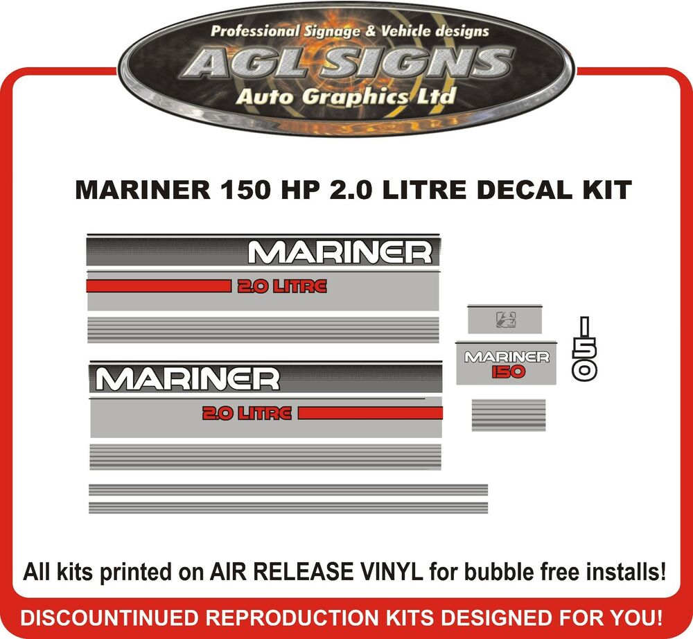 1995 Mercury Mariner 150 hp 2.0 Litre Outboard Decal Kit reproductions 135  hp | eBay