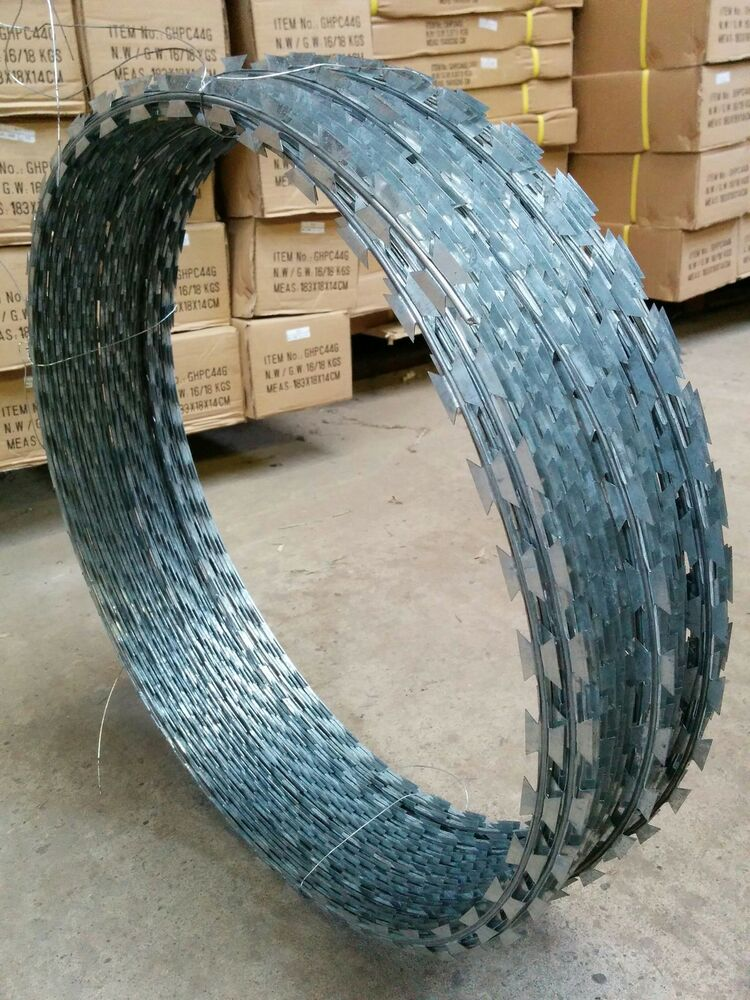 65m Razor Wire Galvanised Barbed Steel Fence Security Coil 12mm ...