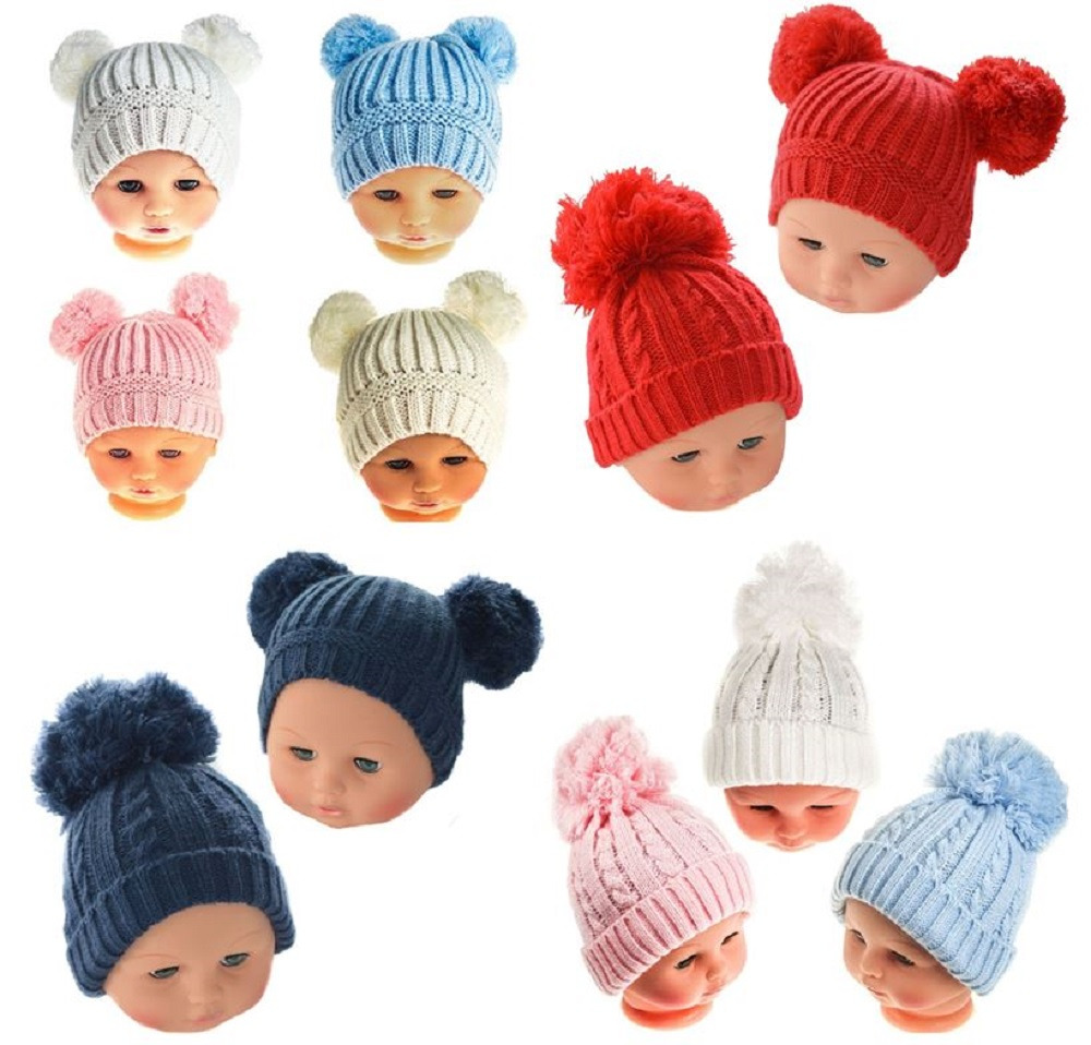 Baby Hat Pom Pom Winter Cable Knit Knitted Boy Girl Ebay