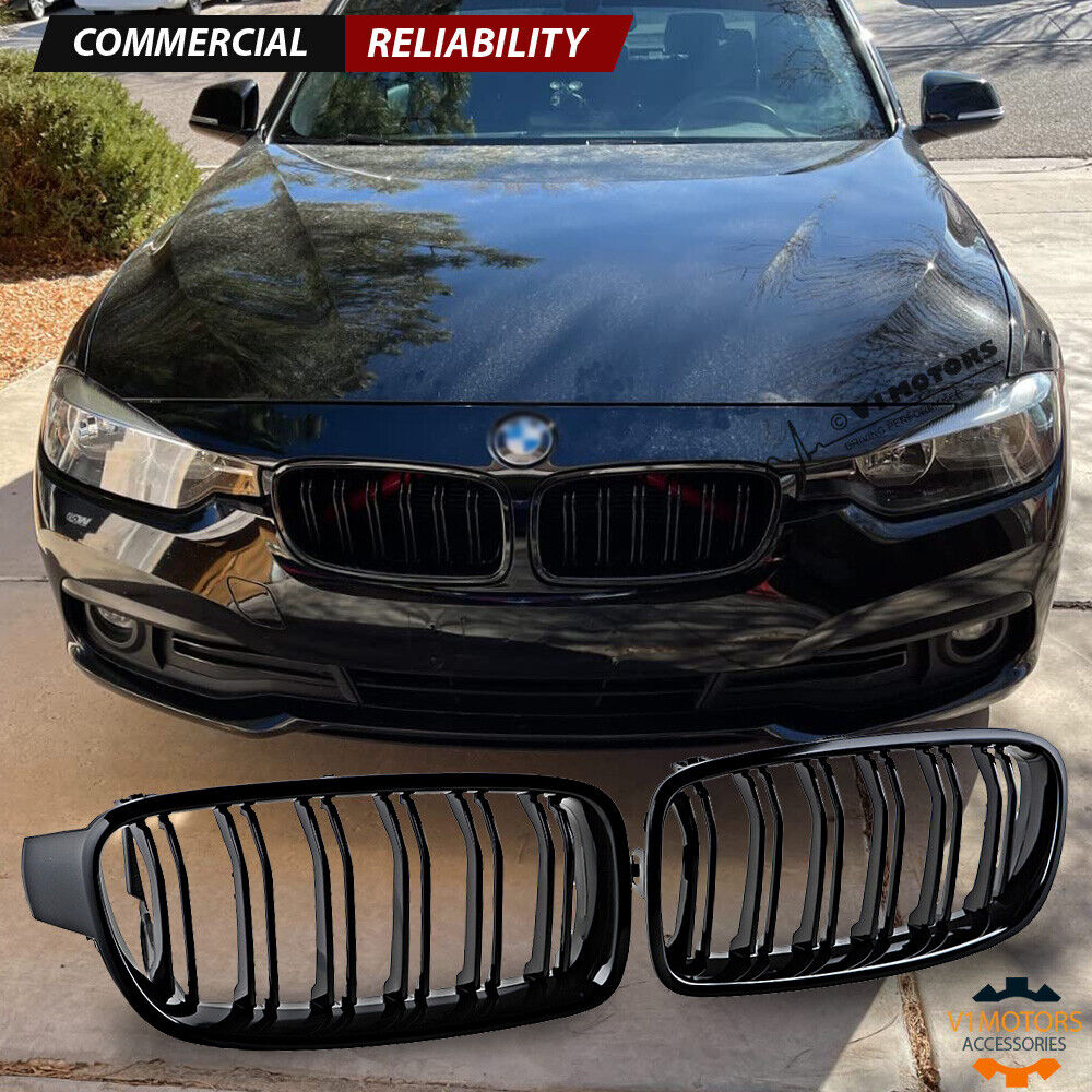 Glossy Black Front Kidney Grille Grill For 2012 2018 Bmw F30 320i