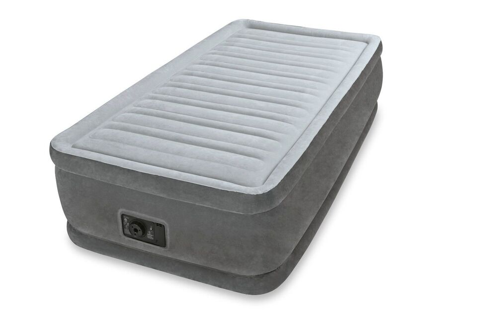Intex twin raised airbed comfort plush dura beam air bed mattress w pump 64411e ebay - Matelas gonflable 1 personne carrefour ...