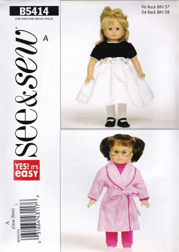 Butterick Schnittmuster see & Sew Puppe Kleidung für 45.7cm Puppe ...