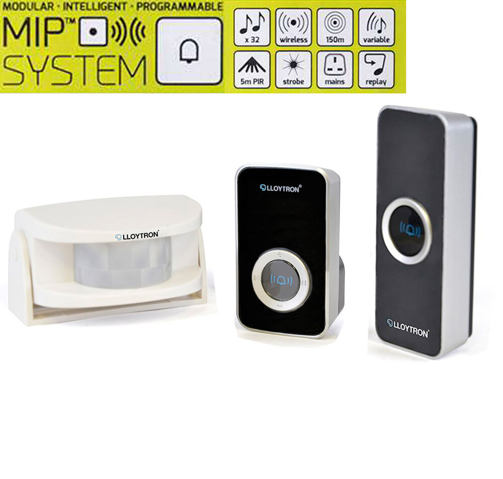 Lloytron Wireless Mains Plug In Door Bell Chime With Pir Sensor 150m Powered Energizers Cordless 5052337008704 Ebay