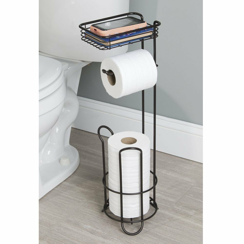 Standing Toilet Paper Tissue Roll Holder Stand Bathroom