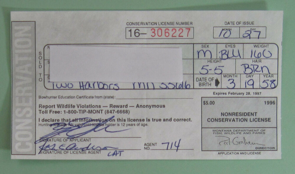 1996 Montana Non Resident Conservation Hunting License Tagee