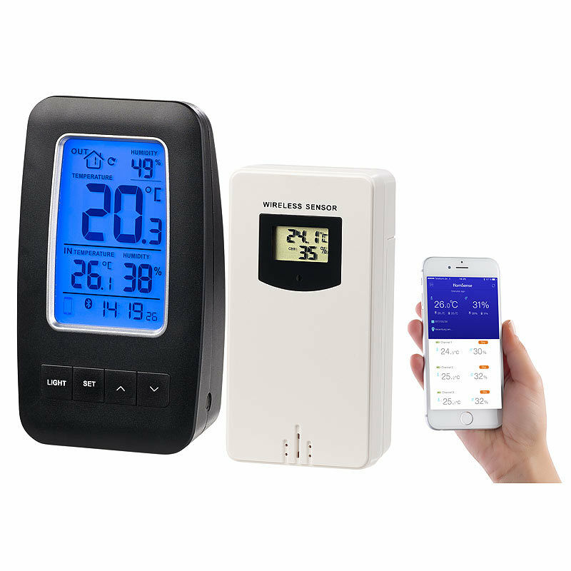 infactory thermometer hygrometer datenlogger mit au ensensor app unterst tzung ebay. Black Bedroom Furniture Sets. Home Design Ideas