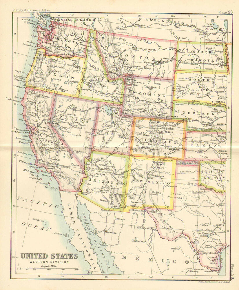 Small Map Of The United States.1890 Small Map Of United States Western Division By John