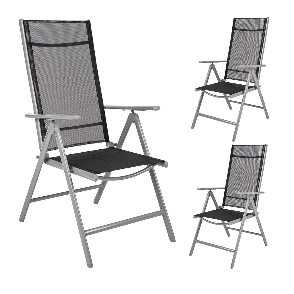 3er set alu klappstuhl gartenstuhl aluminium campingstuhl hochlehner b ware ebay. Black Bedroom Furniture Sets. Home Design Ideas