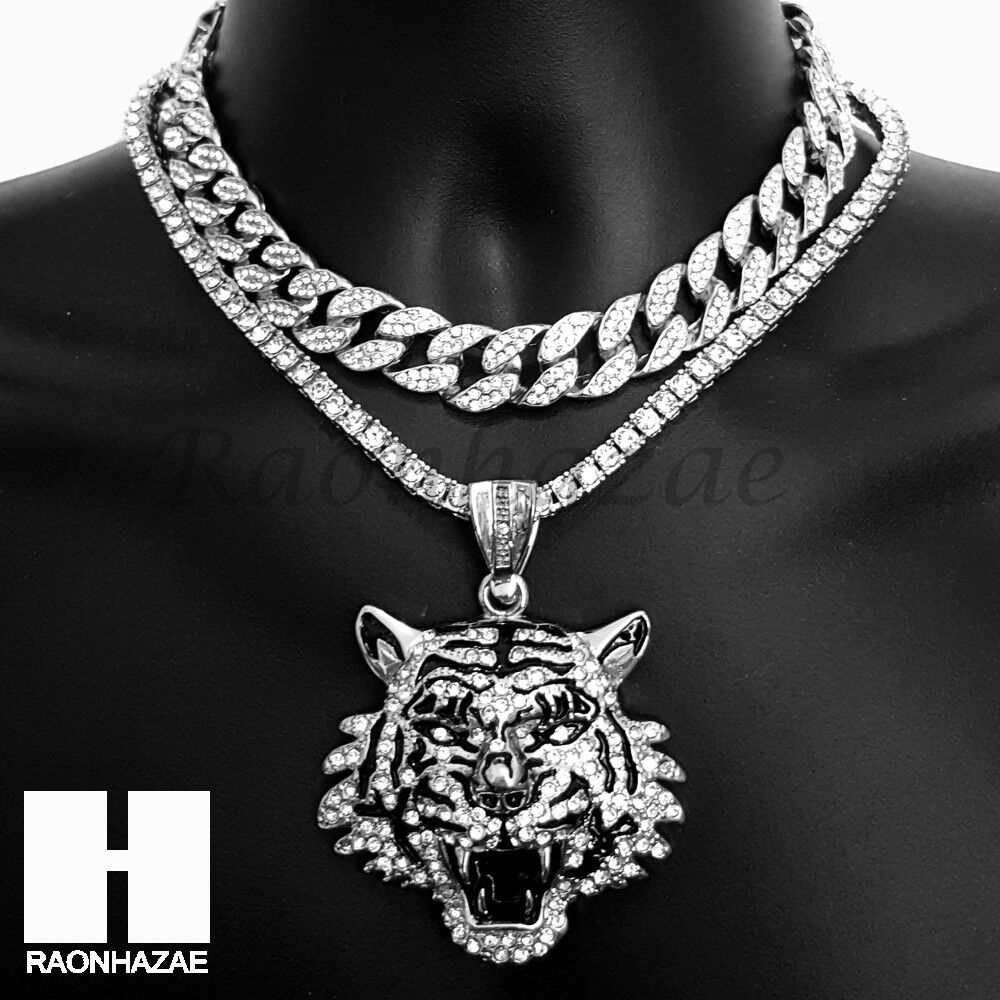hip hop iced out silver drake tiger miami cuban choker tennis chain necklace bs ebay. Black Bedroom Furniture Sets. Home Design Ideas