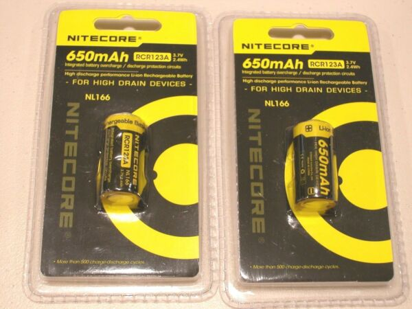 2 pc GENUINE NITECORE RCR123A  RECHARGEABLE Li-ion BATTERY 16340 NL166 3.7v