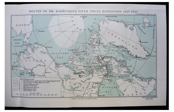 1926 Rasmussen FIFTH THULE EXPEDITION Eskimos COLOR MAP