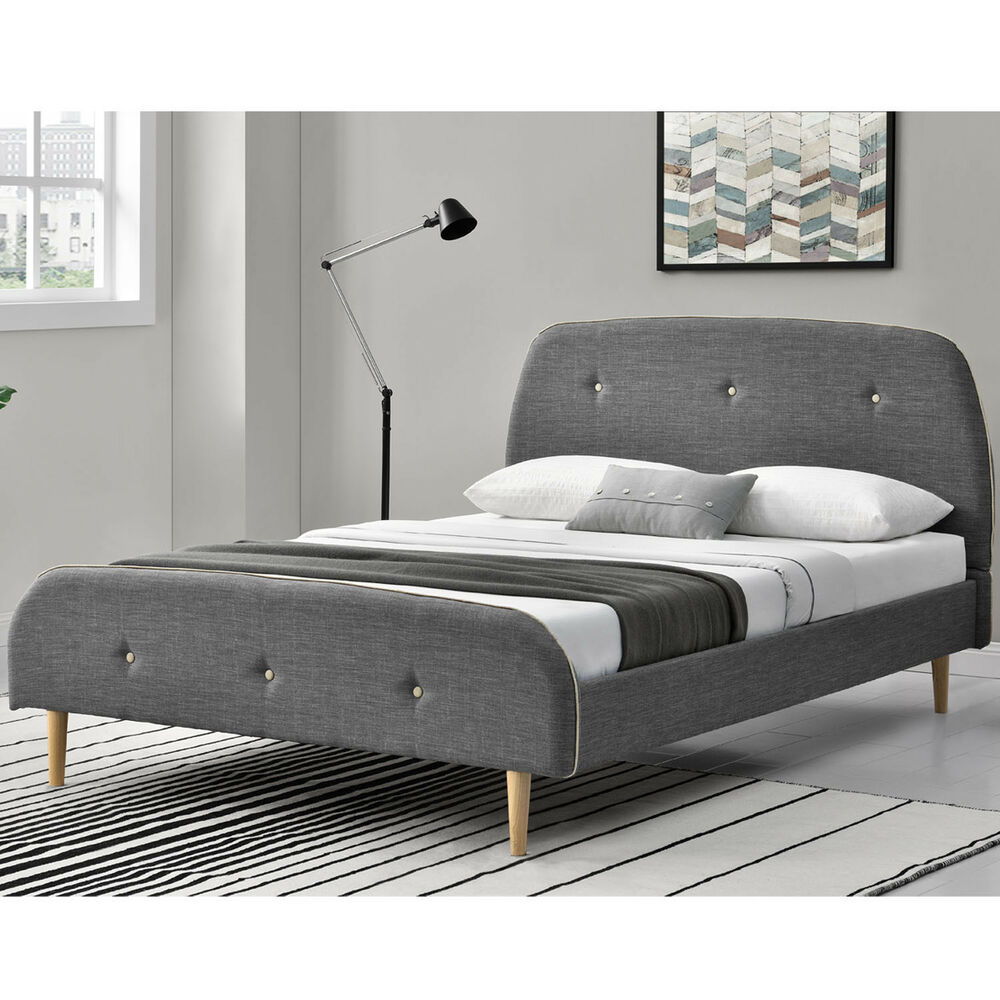 polsterbett doppelbett bettgestell 140 x 200cm skandinavisches design lattenrost ebay. Black Bedroom Furniture Sets. Home Design Ideas