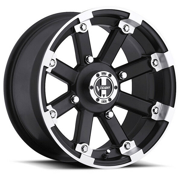 Utv wheels ebay 4 new vision 393 lockout atvutv 14x7 4x110 3mm blackmachined sciox Gallery