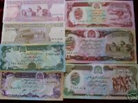 4 different Afghanistan paper money 1979-2002 most Uncirculated