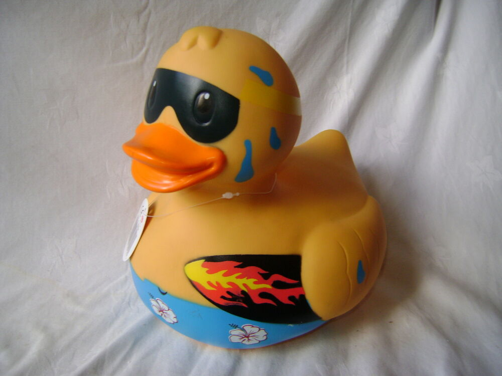 NEW HUGE FLAMING SURFER RUBBER DUCK BATH TOY COSTUME DESIGN OUTFIT ...