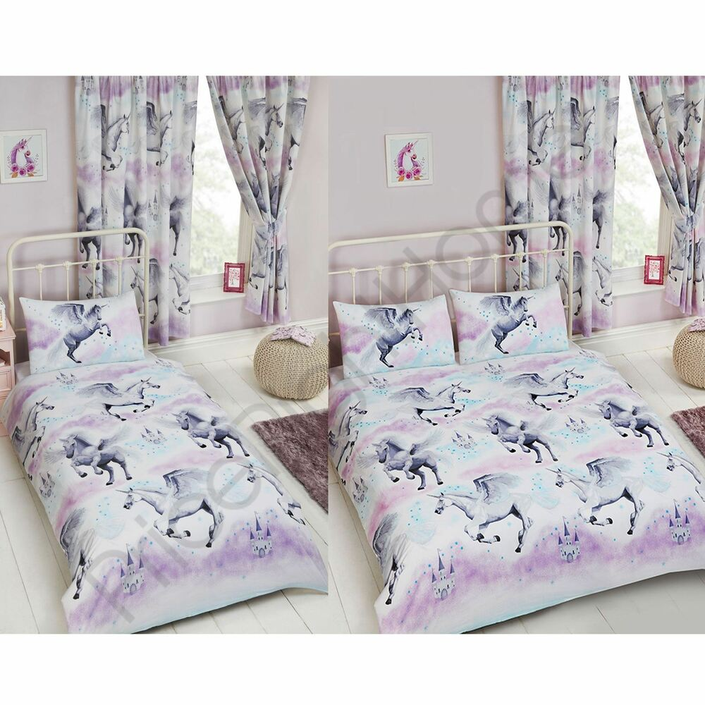 STARDUST UNICORN PURPLE/TEAL CURTAINS & DUVET COVER SET