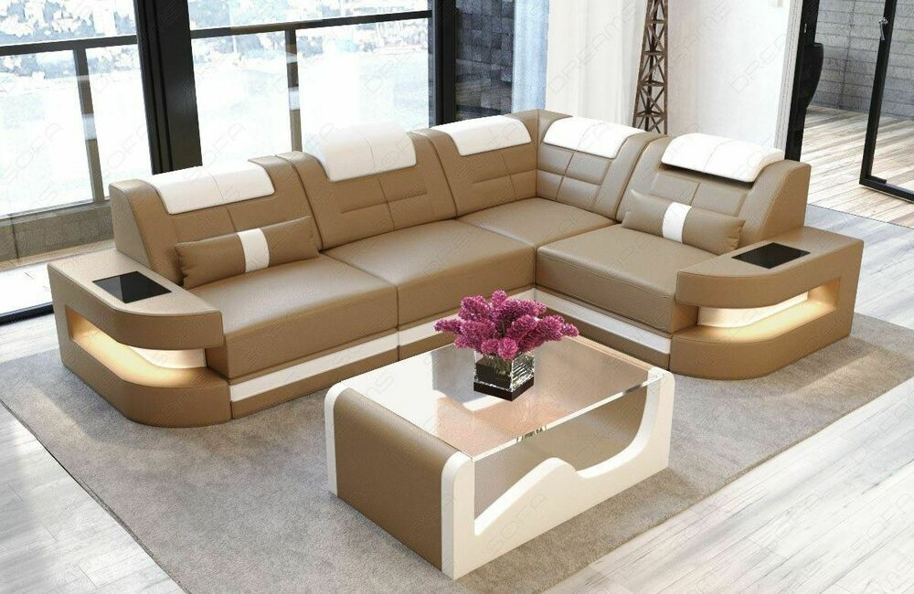 sofa ledercouch ecksofa leder como l form led beleuchtung designersofa ottomane ebay. Black Bedroom Furniture Sets. Home Design Ideas